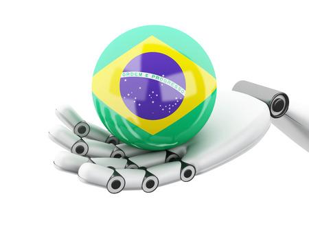 cybernetics: 3d illustration. Robotic hand holding Brazil flag icon. Isolated on white bakground