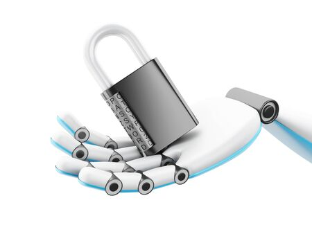 cybernetics: 3d illustration. Robotic hand holding combination padlock. Security concept. Isolated white background