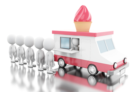 3d illustration. Ice cream food truck with white people waiting in line. Fast food concept. Isolated white background