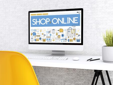 3D illustration. Modern workspace and computer with word SHOP ONLINE. Shop online concept.