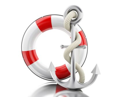 3d illustration. Anchor and lifebuoy with rope. Sailing concept. Isolated white background Stock Photo