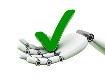 cybernetics: 3d illustration. Robotic hand holding green check mark icon. Success concept. Isolated white background Stock Photo