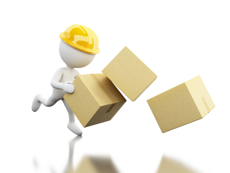 moving box: 3d illustration. White people falling with boxes. Work accident. Isolated white background.