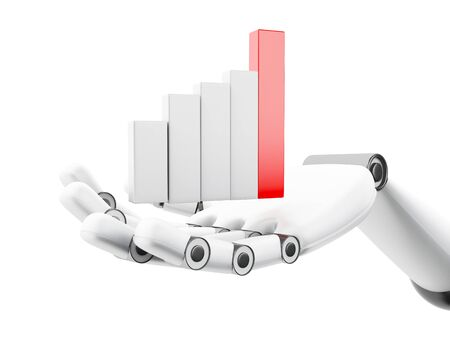 cybernetics: 3d illustraion. Robotic hand holding growing graph. Business concept. Isolated white background