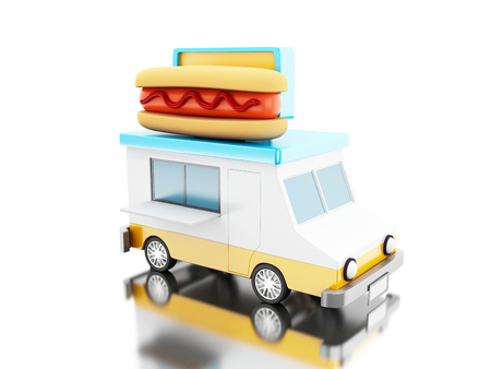 hot dog: 3d illustration. Hot dog food truck. Fast food concept. Isolated white background