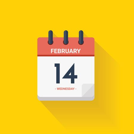 Vector illustration. Day calendar with date February 14, 2017. Valentines concept. Yellow background