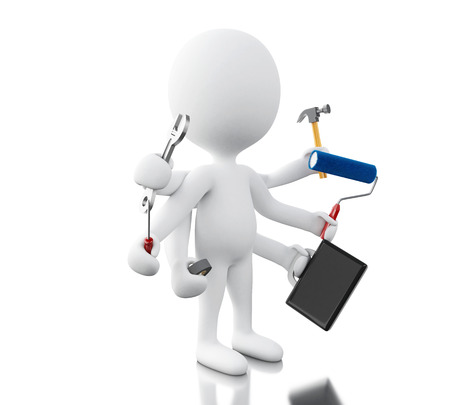 3d illustration. White people with six arms holding tools. Multitasking concept. Isolated white background Stock Photo