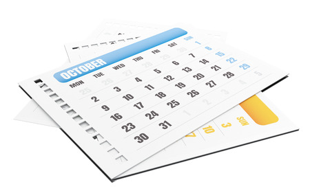 beginnings: 3d illustration. Stack of pages tears off calendar. October calendar. Isolated white background