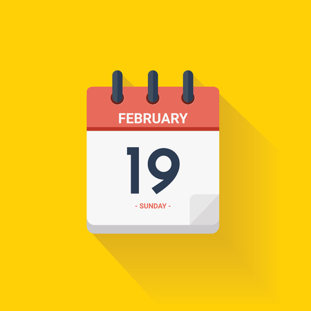 Vector illustration. Day calendar with date February 19, 2017. Chinese new year concept. Yellow background