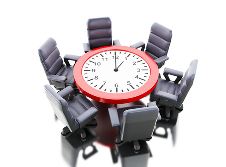 3d illustration. Office table as clock with armchairs. Business meeting concept. Isolated white background