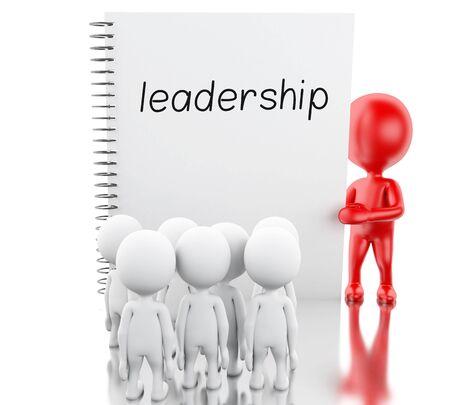 3d 렌더러 이미지입니다. 흰색 사람들, 빨간색 리더십 및 word 리더십 메모장. 비즈니스 개념입니다. 격리 된 흰색 배경입니다. 스톡 콘텐츠