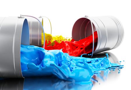 3D illustratie. Kleurrijke verf die uit blikken bespat. Geïsoleerde witte achtergrond Stockfoto