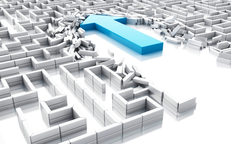 3d illustration. Blue arrow breaking down the walls in the maze. Unexpected solutions concept. Isolated white background