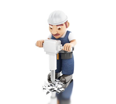 3d illustration. Worker with a jackhammer working on a construction. Isolated white background.