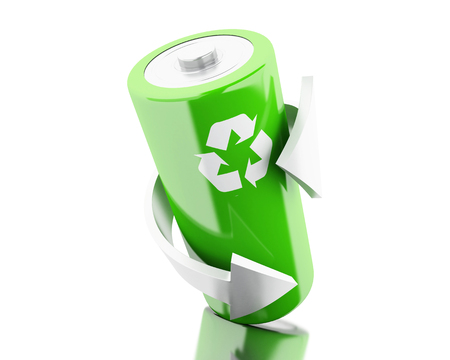 lithium: 3d illustration. Green battery with recycling symbol. Eco energy concept. Isolated white backgroud Stock Photo