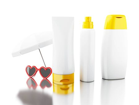 3d illustration. Set of sunscreens empty for mock up your design with sunglasses and umbrella. Summer concept. Isolated white background