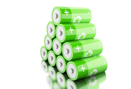 3d illustration. Stack of green batteries with recycling symbol. Eco energy concept. Isolated white backgroud