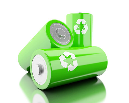 lithium: 3d illustration. Stack of green batteries with recycling symbol. Eco energy concept. Isolated white backgroud