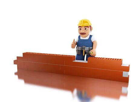 3 d イラスト。ビルゴテ レンガの壁を持つワーカー。建設のコンセプトです。孤立した白い背景 写真素材