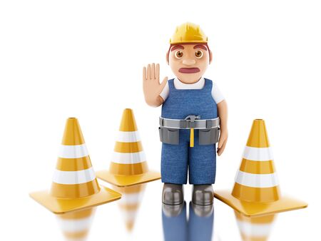 3d illustration. Worker with helmet and cones. Construction concept. Isolated white background