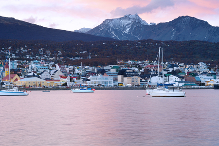 View of the city of Ushuaia at the sunset. Tierra del Fuego, Argentina. Stock Photo