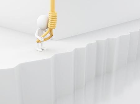 3 d イラスト。白人の人々 は、自分がハングするしようとしています。自殺の概念。