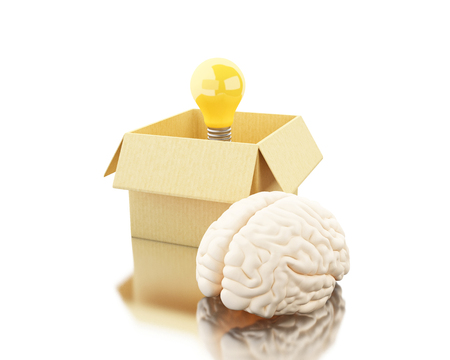 3d illustration. Brain with ligthbulb and cardboard box. Think outside the box. Open mind concept. Isolated white background Stock Photo