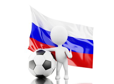 3d illustration. White people with Russia flag and soccer ball. Russia 2018 World Cup. Isolated white background