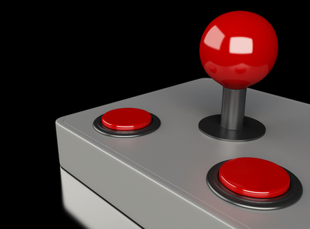 3d illustration. joystick and buttons from retro arcade game machine. Video game concepts. Stok Fotoğraf