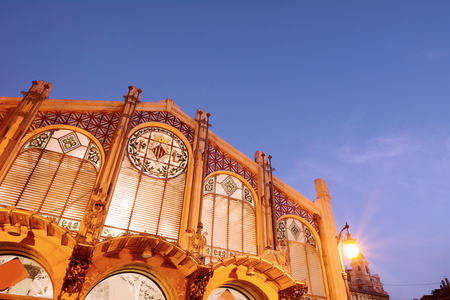 Facade of the Central Market in the city of Valencia, Spain.