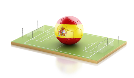 3d illustration. Spain soccer ball on a soccer field. Sports concept. Isolated white background Stock Photo