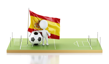 3d illustration. White people with Spain flag and soccer ball on a soccer field. Sports concept. Isolated white background Фото со стока