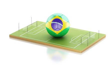 3d illustration. Brazil soccer ball on a soccer field. Sports concept. Isolated white background Stock Photo
