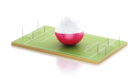 3d illustration. Poland soccer ball on a soccer field. Sports concept. Isolated white background