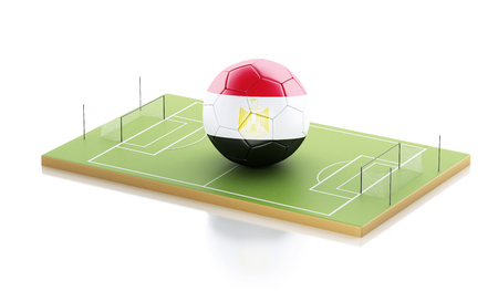 3d illustration. Egypt soccer ball on a soccer field. Sports concept. Isolated white background