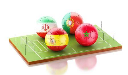 3d illustration. Football tournament 2018. Group B, Spain, Morocco, Portugal, Iran.