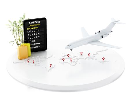 3D illustratie Vliegtuig vliegt rond de wereld met kaartaanwijzer, luchthavenbord en reiskoffers. Luchtvaartmaatschappij reizen concept. Geïsoleerde witte achtergrond