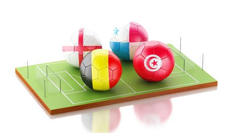 Ilustración 3d Torneo de fútbol 2018. Grupo G, Bélgica, Panamá, Inglaterra, Túnez. Foto de archivo