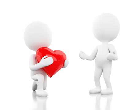 Ilustración 3d La gente blanca le da a otro un corazón rojo, el Día de San Valentín. Concepto de amor Fondo blanco aislado. Foto de archivo - 93476807