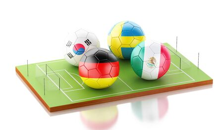 3d illustration. Football tournament 2018. Group F, Germany, Korea Republic, Sweden, Mexico.
