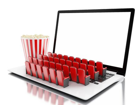 3d illustration. Laptop with blank screen and rows of cinema seats. Home cinema concept. Stock Photo