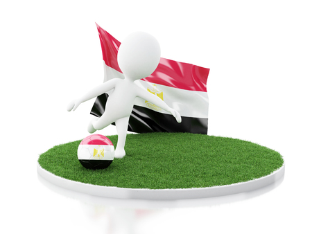 3d illustration. White people with Egypt flag and soccer ball on grass. Sports concept. Isolated white background Stock Photo