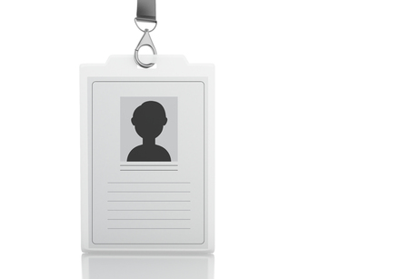 3d illustration. White ID badge. Isolated white background
