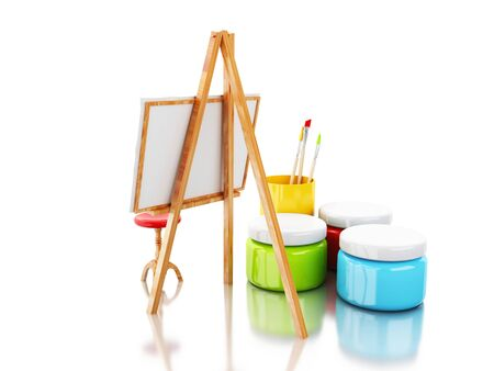 3d illustration. easel and brushes. Artist concept. Isolated white background. Stock Photo