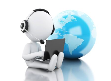 3d illustration. White people working on a laptop with headphones and earth globe, isolated white background. Global communication concept.