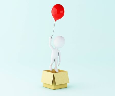 3d illustration. White people with balloon out of the box. Thinking outside the box as creative and leadership concept.