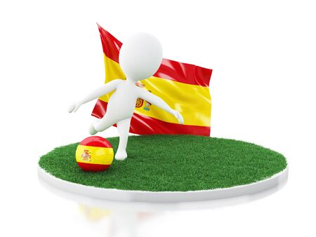 3d illustration. White people with Spain flag and soccer ball on grass. Sports concept. Isolated white background Stock Photo