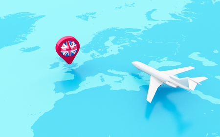 3D Illustration. Airplane flying around globe and map pointer with flag icon of united kingdom. Travel concept. Stock Photo