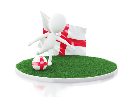 3d illustration. White people with England flag and soccer ball on grass. Sports concept. Isolated white background