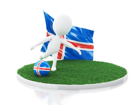 3d illustration. White people with Iceland flag and soccer ball on grass. Sports concept. Isolated white background